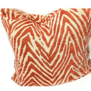 Rowe Designer Luxury Throw Pillow Red Beige Tiger